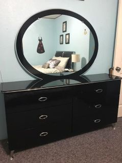 6 Pc Black Contemporary Bedroom Set