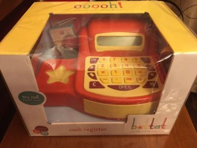 New toy cash register with sound and play money