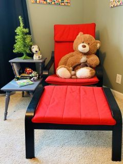 Red + Black IKEA Chair & Ottoman + Charcoal Side Table