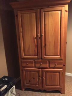 Pine tv armoire