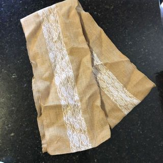 Table Runner, Burlap and Lace, 10 , Excellent Condition