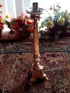 Antique Altar Single Brass Candlestick, Tripod Base, Claw Feet, Victorian, Church