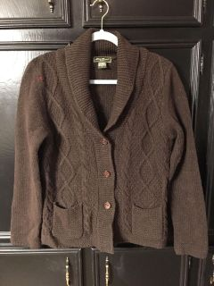 Nice brown cable knit sweater by Eddie Bauer