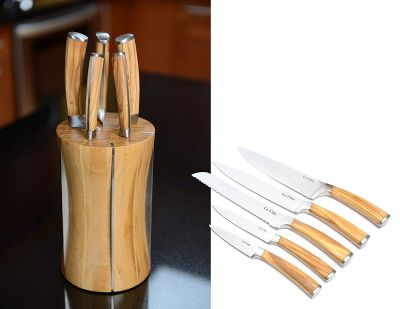 5 Piece Japanese Stainless Steel Wood Handle Chef Knife Set with Olive Wood Block