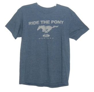 Ford Mustang Heather Blue Ride The Pony Graphoc T-Shirt Mens Large