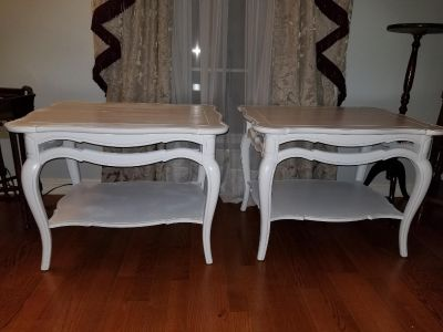 Pair of solid wood end tables
