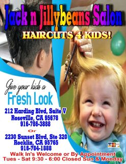 Jack n Jillybeans Salon's HAIRCUTS 4 Kids 916-786-3888
