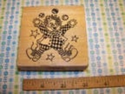 PSX Rubber stamp; G-053 Rare! juggling clown, stars, balls