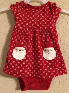 Christmas Red And White Santa Dress Onesie. Nice Condition. Size 6 Months