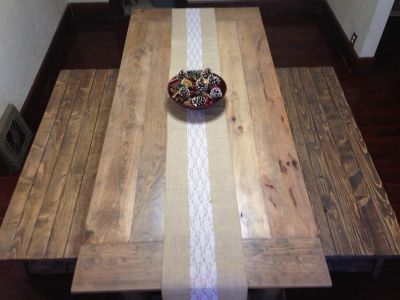 Table, benches, and coffee table
