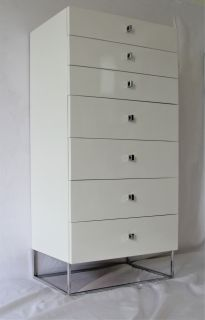 Mid Century Modern White and Chrome Tall Dresser