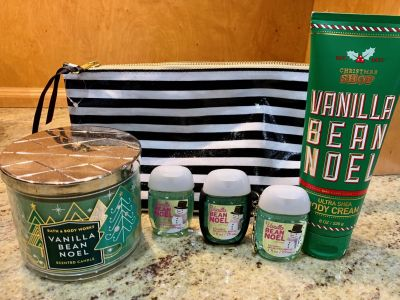 Vanilla Bean Lot 3 wick candle 3 pocketbac hand sanitizers 1 body cream 1 pouch - see pics!