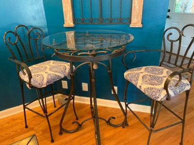Bar height table and chairs