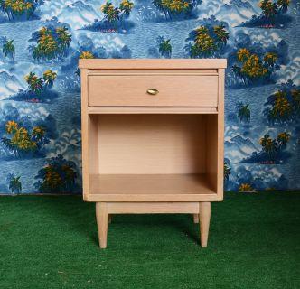 vintage classic mid century blond oak nightstand