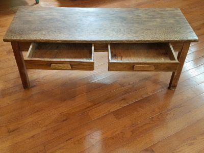 """Old oak coffee table w/ 2 drawers Measures 48"""" L x 18"""" D x 18"""" T"""