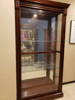 2 Matching Cherry Curio Cabinets
