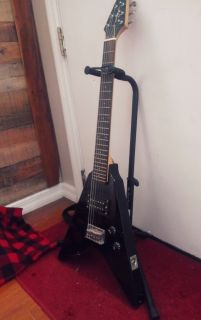 Jay Turser 3/4 Flying V Solid Body Electric Guitar Rare Black