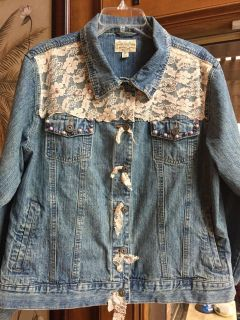 Lace and Bead Blue Jean Jacket