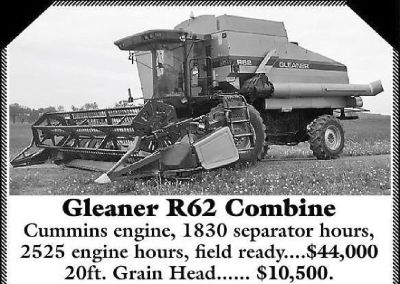 Gleaner R62 Combine and Gleaner 8000 series Grain Head for sale in Denver, Pennsylvania.