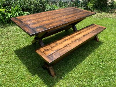 Rustic dining table bench set