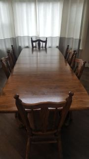100% Solid Oak dining table and chairs