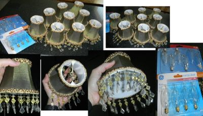 9 Silk Fabric Beaded Clip-On Chandelier Lamp Shades Set Bell Shaped Sage Green / Tan / Bronze Beads