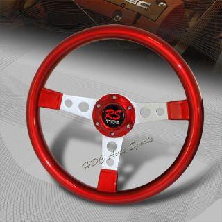 Buy JDM 350MM 6 Hole Red Finish Wood Silver Spoke Racing Steering Wheel Universal 4 motorcycle in Walnut, California, United States