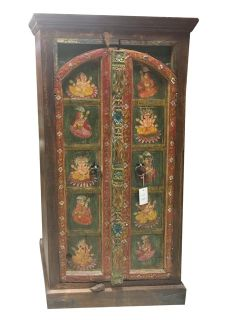 Antique Armoire Ganesha Hand Painted Bohemian Cabinet