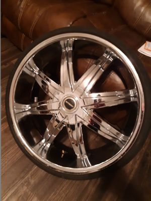 "22"" rims and tires ... WANT TO TRADE"