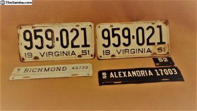 Virginia Automobile License Plate Set '51&'52