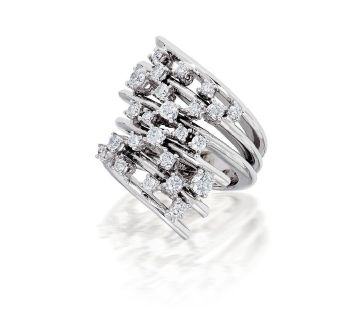 Prong Set Ladies Right Hand Ring in 18k White Gold (1.10ct. tw.)