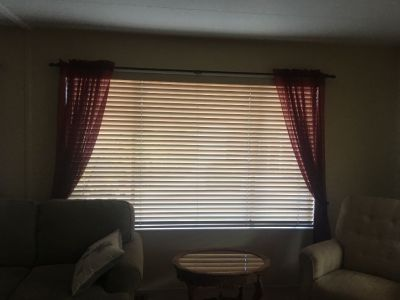 (2) 8 ft Window Blinds Faux Wood Horizontal