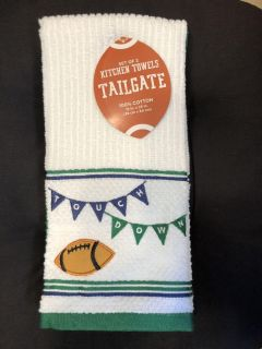 Set of 2 Tailgate Football Touchdown Kitchen Towels - 100% Cotton terrycloth 15 x25 - New
