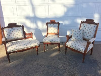 Three piece antique parlor set