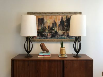 Mid Century Modern Pair of Wood Tulip Lamps