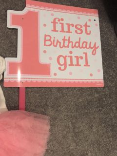 First birthday outfit and two yard signs