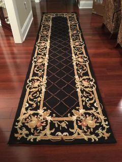 New Safavieh Chelsea Collection Hand-Hooked Black Wool Runner 3' x 12'