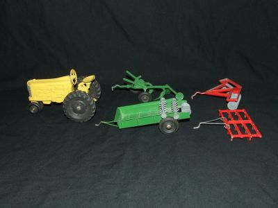 Vintage Tru-Toy Die Cast Yellow Farm Tractor / Red & Green Implements Tru Toy