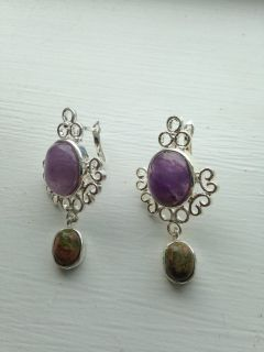 REDUCED!Beautifull silver & genuine amethist earrings