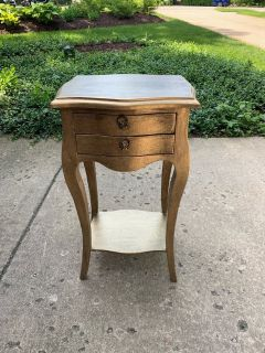 Small Gold Table with Two Drawers