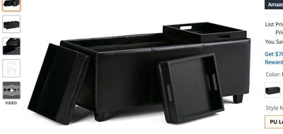 Faux Leather Rectangular Storage Ottoman with 3 Trays / Black