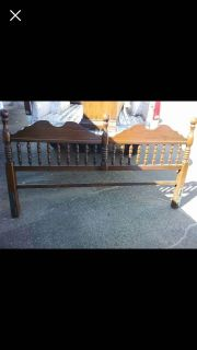 Solid wood king headboard and matching mirror