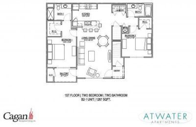 2 Beds - Atwater Apartments