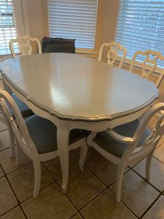 Weathered Gray REAL WOOD Dining Table AND 6 Chairs