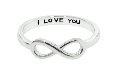 ***BRAND NEW***Hidden Message I Love You Silver Infinity Ring***SZ 7
