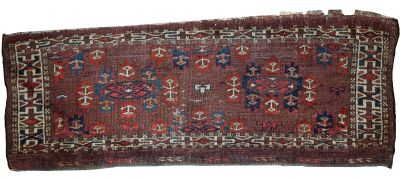 Handmade antique Turkmen Yomud rug 1C09