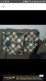 2 couch pillows (grey and tan/brown)
