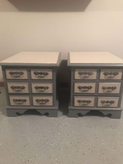 Two matching solid wood side tables/nightstands