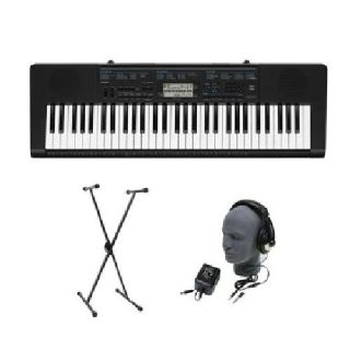 $125 Casio CTK-2300 61-Key Premium Portable Keyboard Package with Headphones, Stand a