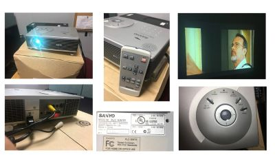 Sanyo PLC-SW35 SVGA Projector, remote, cables and soft case included.